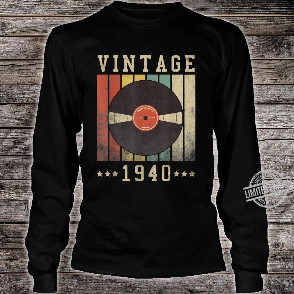80th Vintage Vinyl 1940 Birthday Retro 80 Years Old Shirt long sleeved
