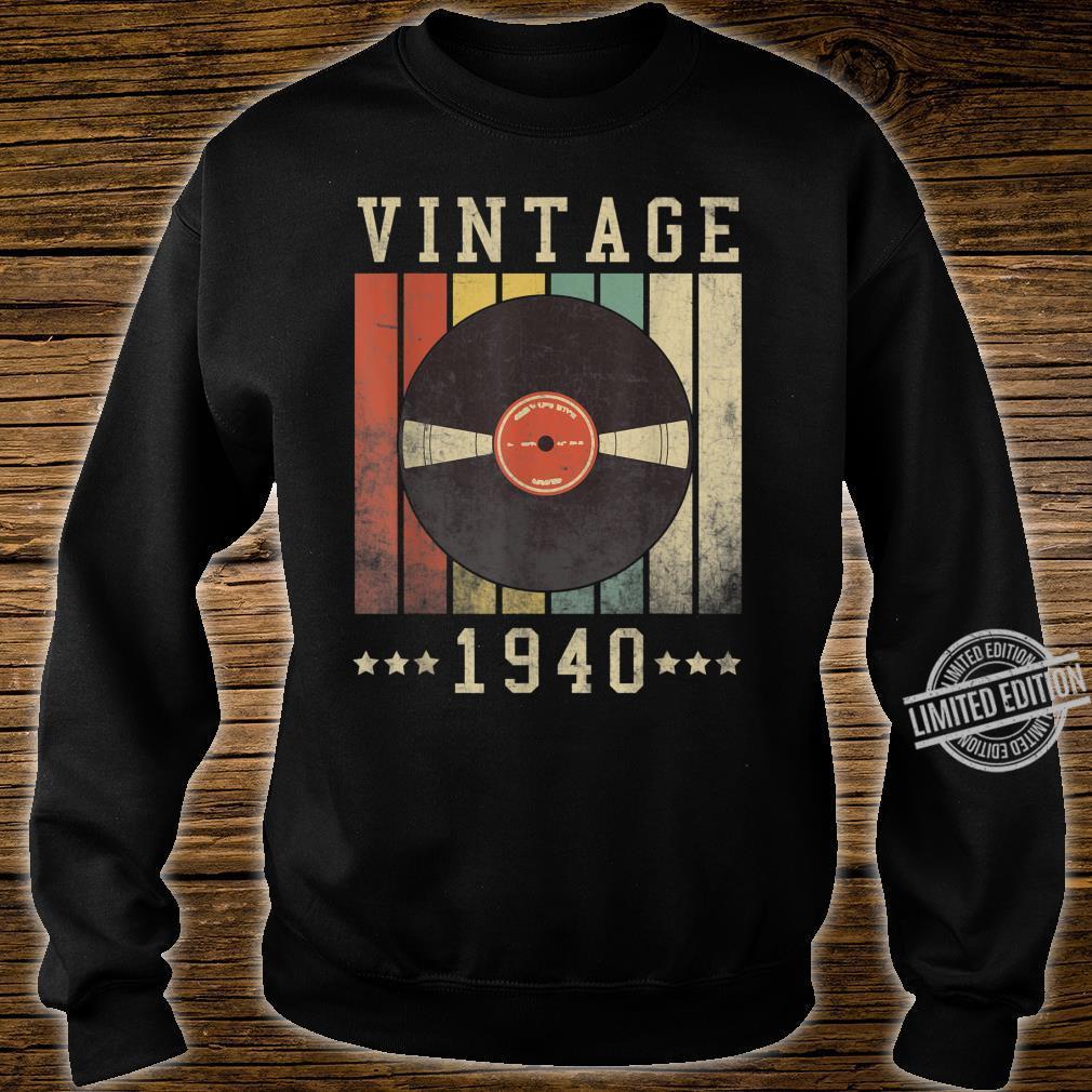 80th Vintage Vinyl 1940 Birthday Retro 80 Years Old Shirt sweater