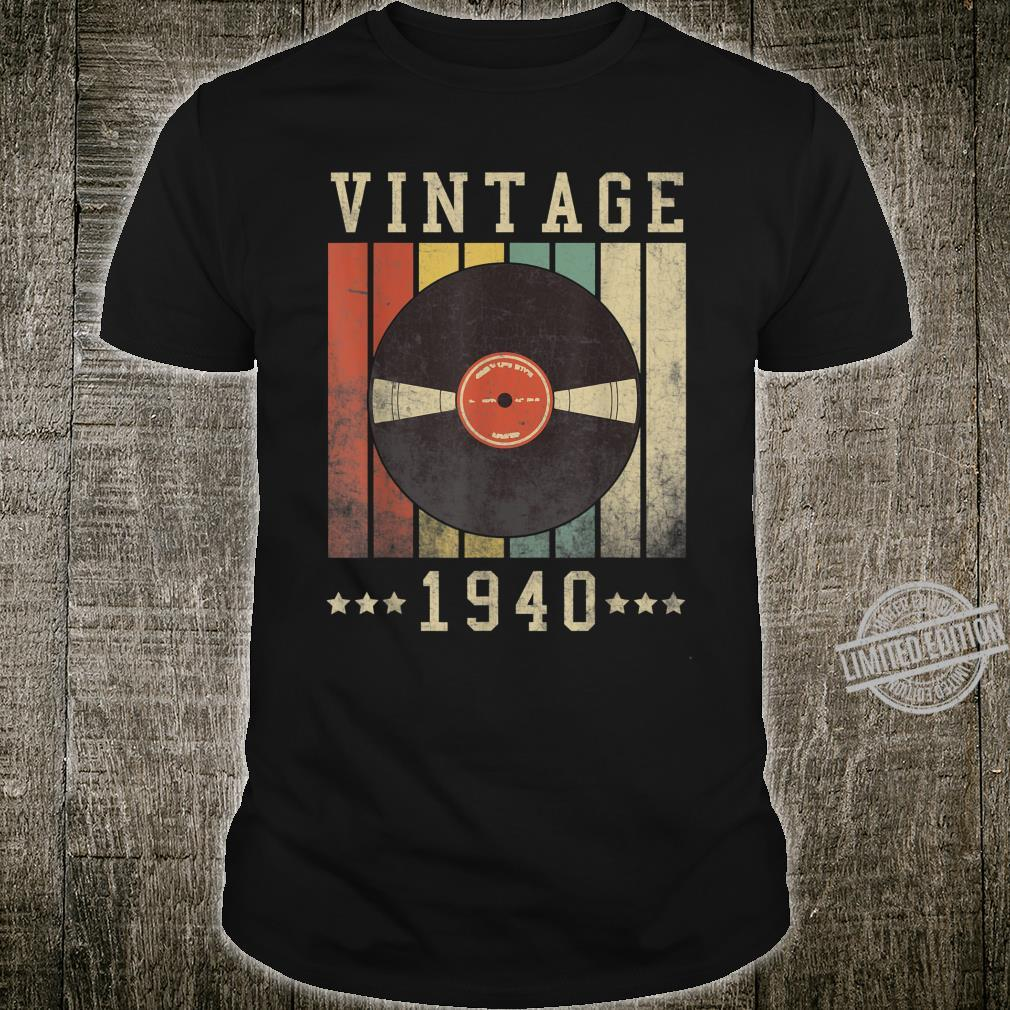 80th Vintage Vinyl 1940 Birthday Retro 80 Years Old Shirt