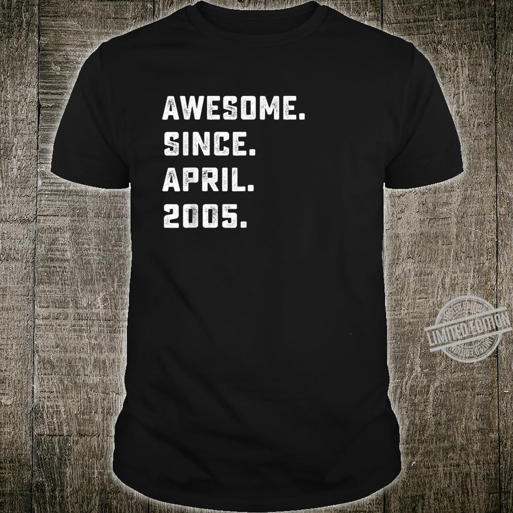 Awesome Since April 2005 Birthday For 15 Years Old Shirt