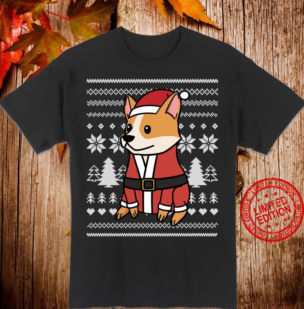 Cartoon Corgi Lustiger Hund Weihnachten Geschenk Shirt