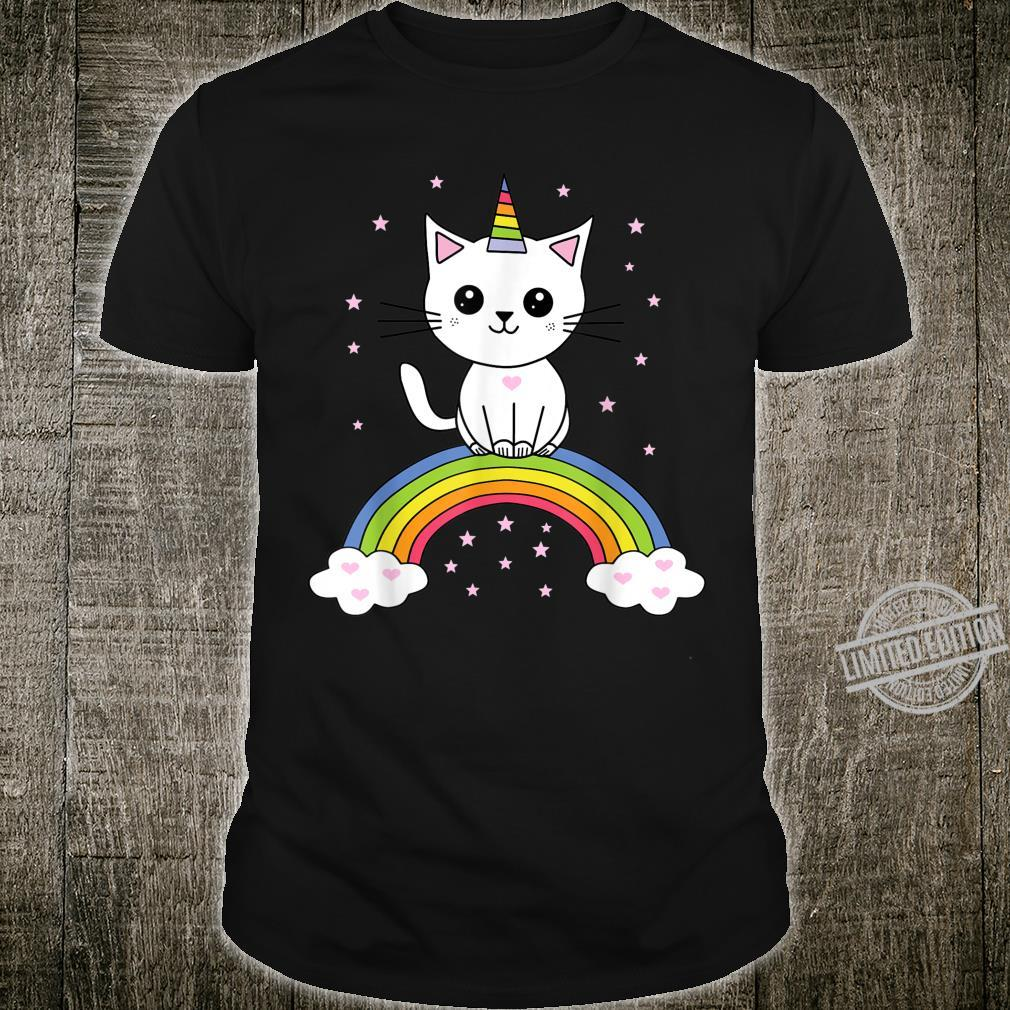 Cute cat as a unicorn on rainbow caticorn kittycorn Shirt