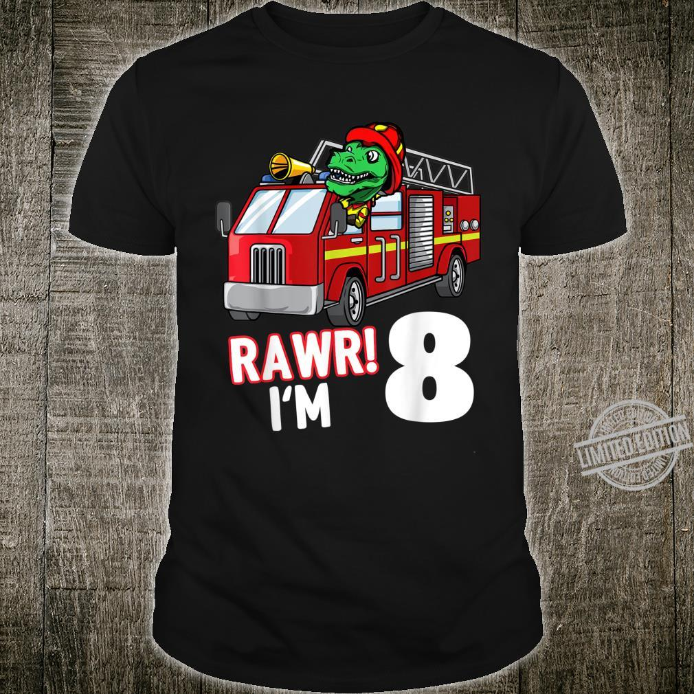 Kids 8th Birthday Shirt Rawr I'm 8 Dinosaur TRex Firefighter Shirt