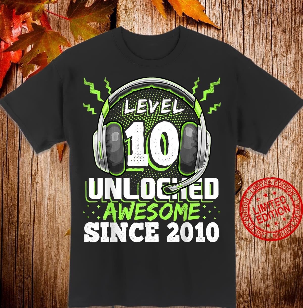 Level 10 Unlocked Awesome 2010 Video Game 10th Birthday Shirt