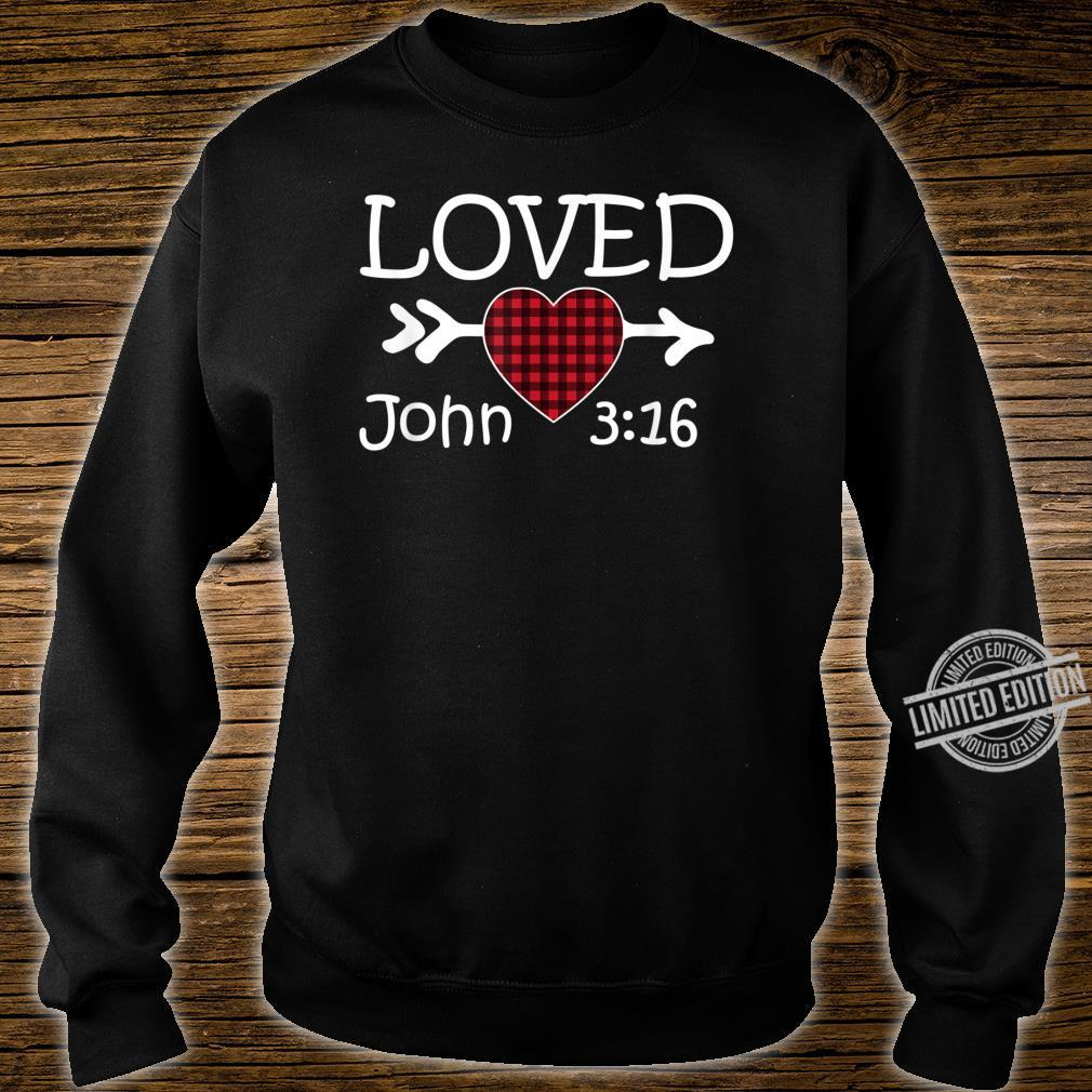 Loved John 316 Red Plaid Heart Christian Valentine's Day Shirt sweater