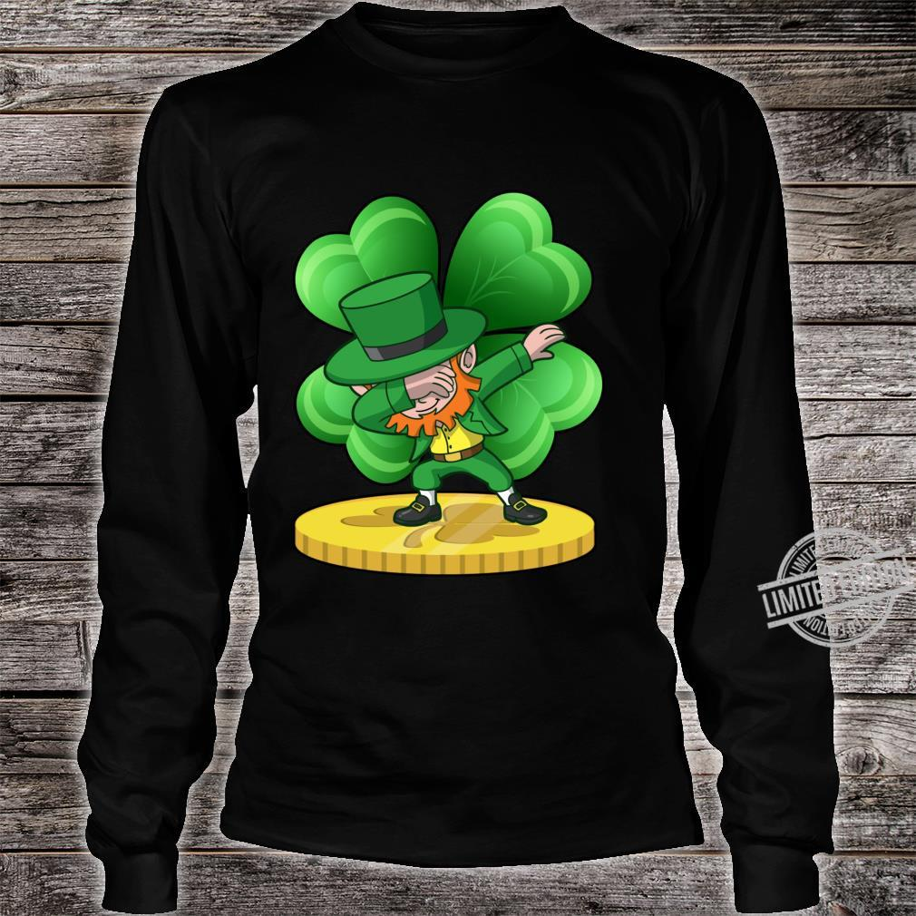 St Patricks Day Dabbing Leprechaun Coin Shamrock Shirt long sleeved