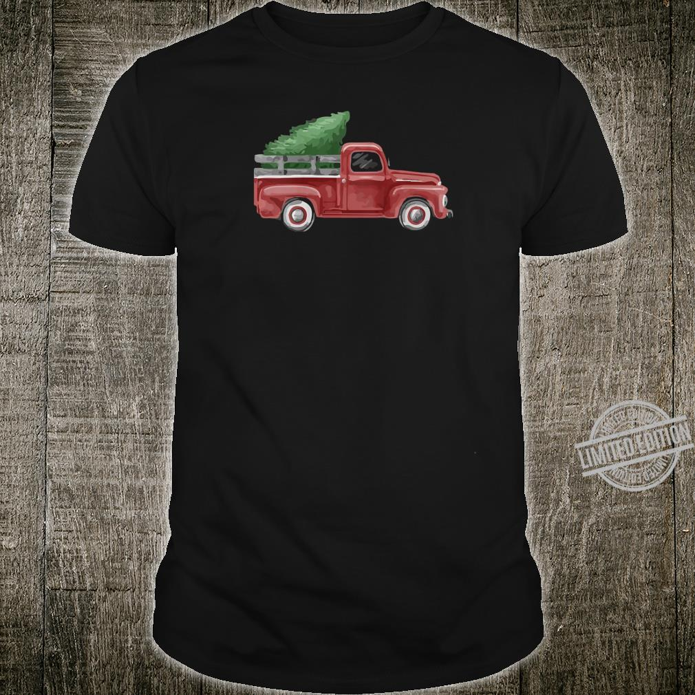 Womens Vintage Pickup Truck Christmas Tree Traditional Whimsy Shirt