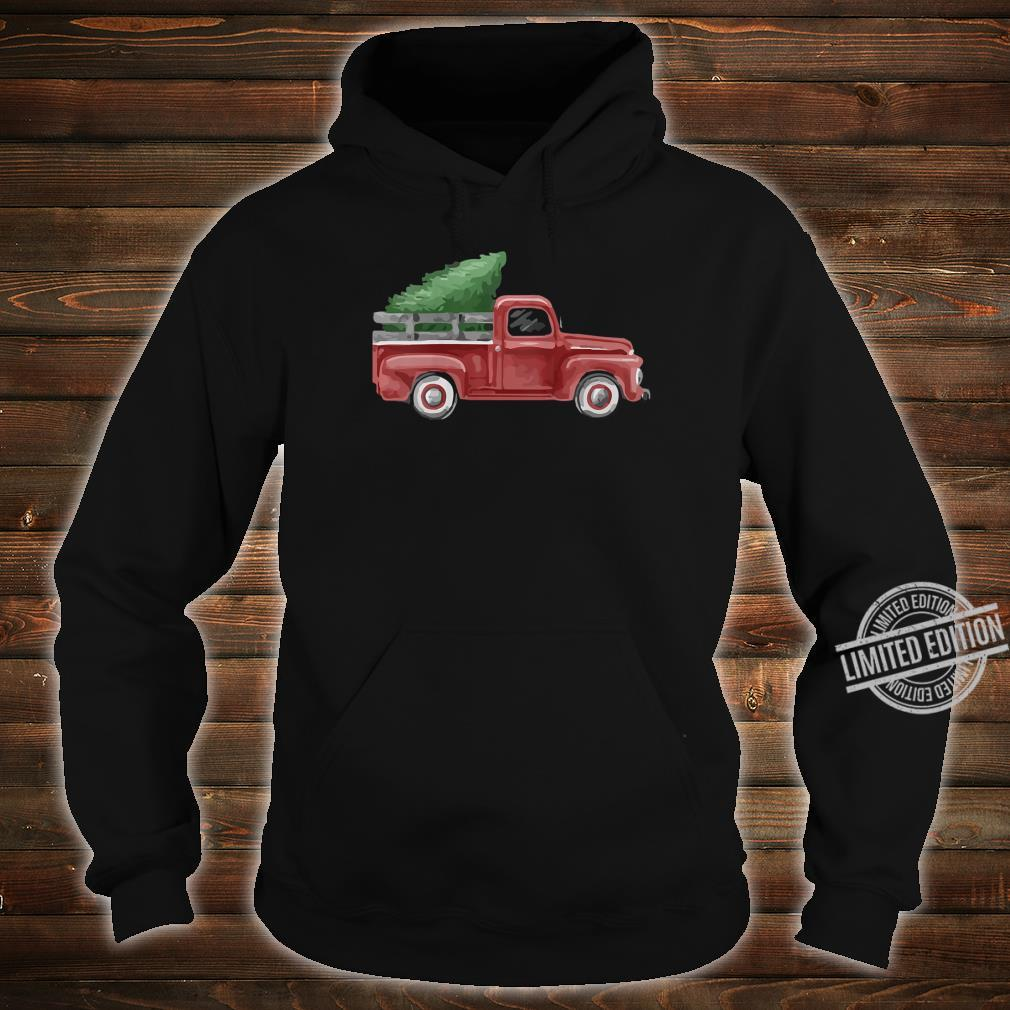 Womens Vintage Pickup Truck Christmas Tree Traditional Whimsy Shirt hoodie