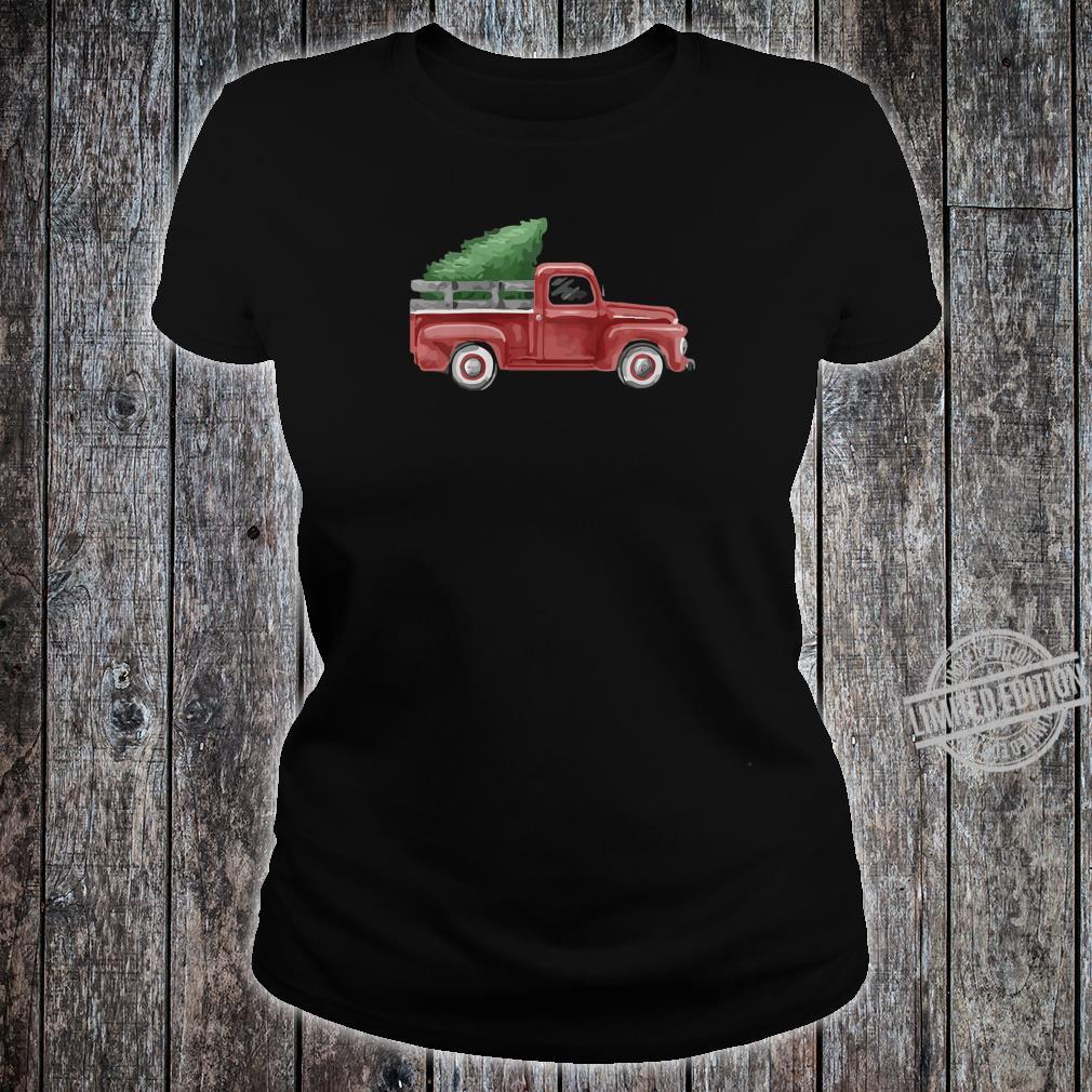 Womens Vintage Pickup Truck Christmas Tree Traditional Whimsy Shirt ladies tee