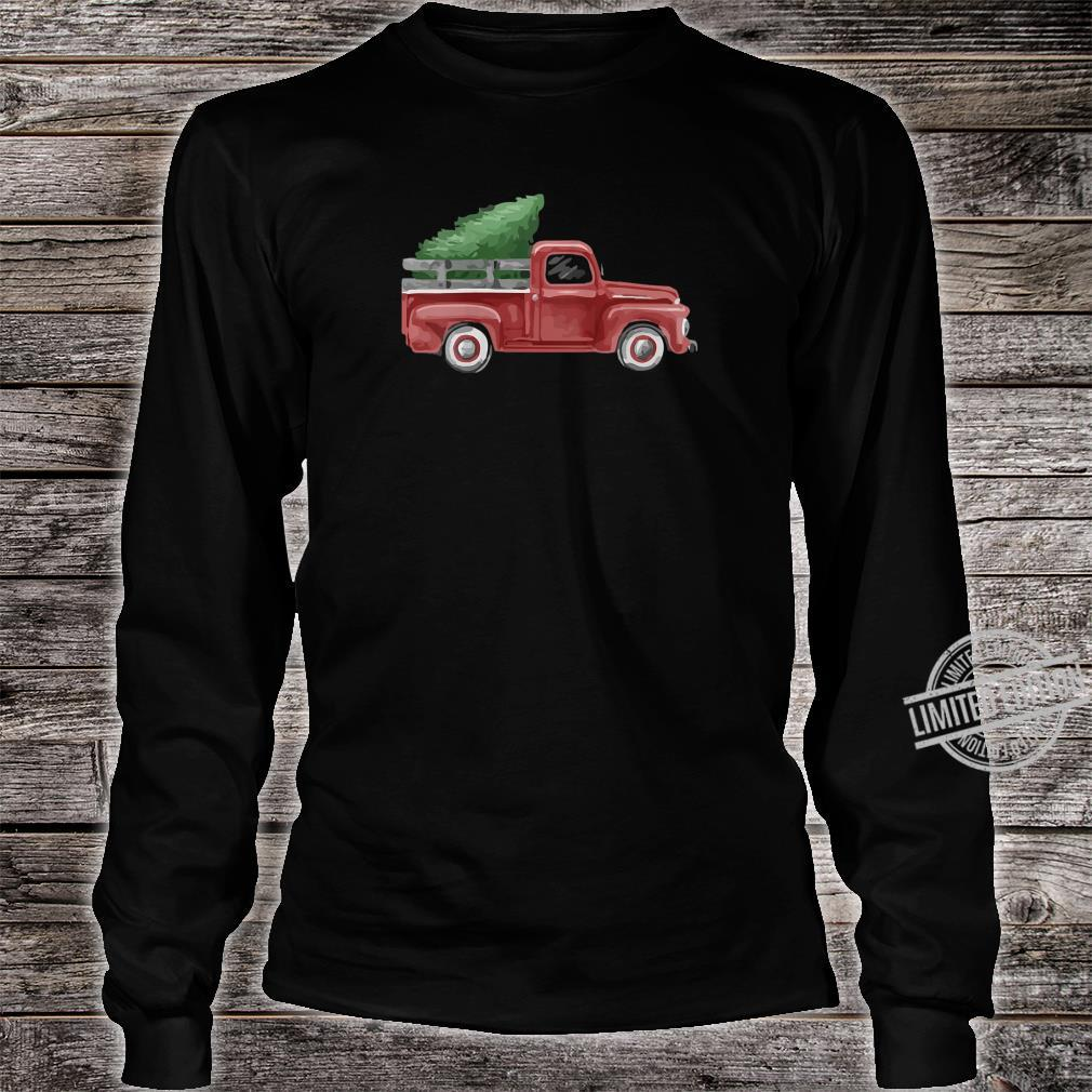 Womens Vintage Pickup Truck Christmas Tree Traditional Whimsy Shirt long sleeved