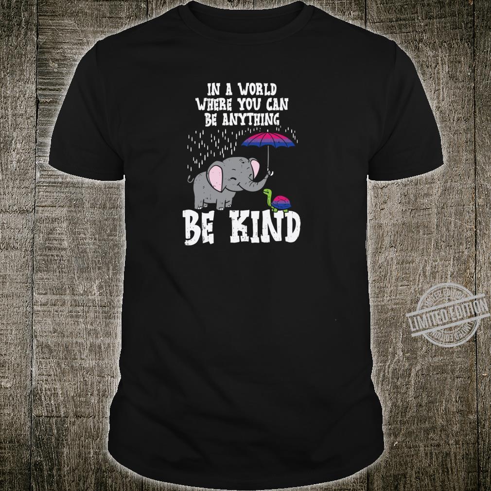 World Be Kind Elephant Turtle Bisexual Pride Bi Flag Shirt